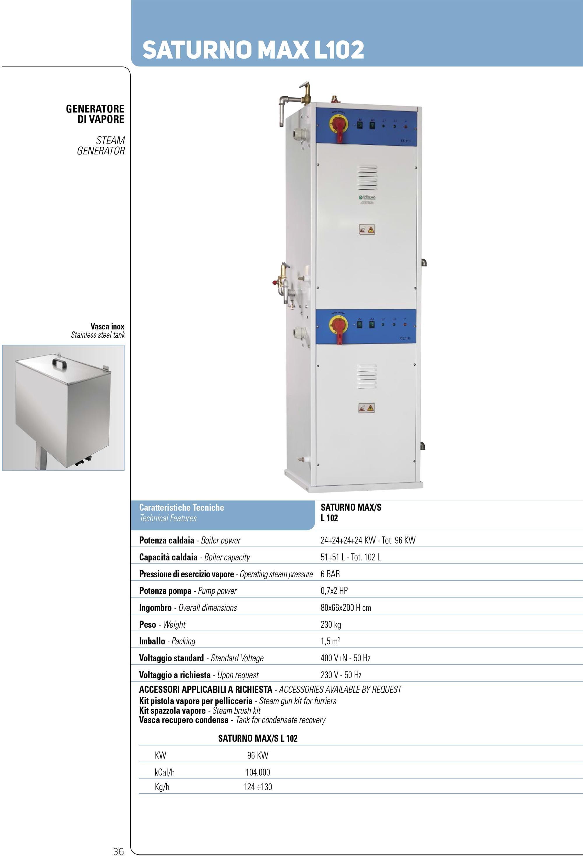 battistella saturnoMAX 102 generator de abur industrial